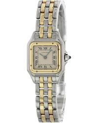 c192ab8e898cd Cartier - Pre-owned Vintage Panthère Silver Gold And Steel Watches - Lyst