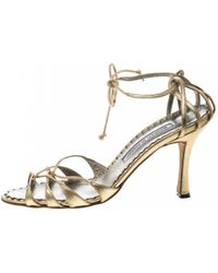 7d68949aabb Lyst - Manolo Blahnik Leva Snakeskin Sandals in Natural