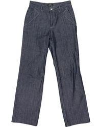 A.P.C. - Pre-owned Blue Cotton Jeans - Lyst