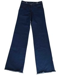Chanel - Pre-owned Blue Cotton Trousers - Lyst