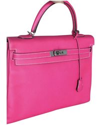 Hermès - Pre-owned Kelly 35 Pink Leather Handbags - Lyst