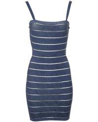 Balmain - Pre-owned Blue Viscose Dresses - Lyst