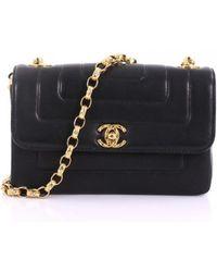 88dd584ed82a Chanel - Vintage Black Leather Handbag - Lyst