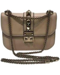 Lyst - Valentino  Glam Lock  Shoulder Bag in Natural 6d57a1e381b3f