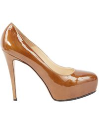 Brian Atwood - Pre-owned Khaki Patent Leather Heels - Lyst