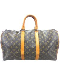 48fc23f3d9cb Louis Vuitton - Pre-owned Vintage Keepall Brown Leather Travel Bags - Lyst