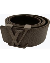 d329505697bc Louis Vuitton - Pre-owned Grey Leather Belts - Lyst