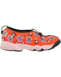 Dior - Pre-owned Fusion Orange Cloth Trainers - Lyst