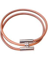 Hermès - Tournis Brown Leather Jewellery - Lyst
