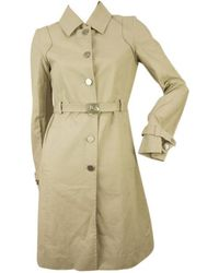 Céline - Pre-owned Celine Woman's Beige Cotton Raincoat Mac Belted Trench Jacket Coat Fr 36 - Lyst