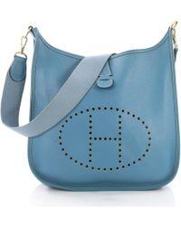 e7fd58ce3d8c Hermès - Vintage Evelyne Blue Leather Handbag - Lyst