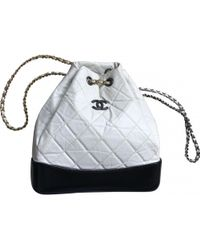Chanel Pre-owned Gabrielle Leather Backpack in Black - Lyst 717fbb2b08bb2