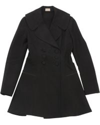 Alaïa - Black Cotton Coat - Lyst