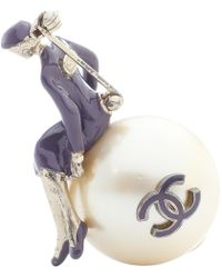 Chanel - Purple Metal Pins & Brooches - Lyst