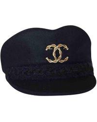 7a14043b Chanel - Navy Wool Hats - Lyst