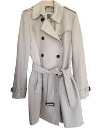 Burberry - Grey Wool Coat - Lyst