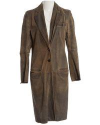 Ann Demeulemeester - Grey Leather Coat - Lyst