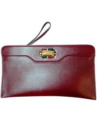 BVLGARI - Pre-owned Vintage Burgundy Leather Clutch Bag - Lyst