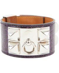 Hermès - Collier De Chien Purple Alligator - Lyst