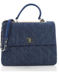 824c74043f5e Chanel Pre-owned Coco Handle Blue Leather Handbags in Blue - Lyst