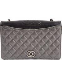 c1356ba928d0e5 Lyst - Chanel Authentic New Handbag A67086 Calfskin Light Grey Ss in ...