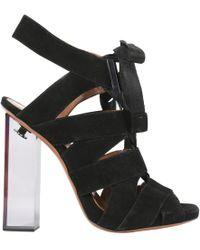 Alaïa - 105mm Suede Lace Up Plexiglas Sandals - Lyst