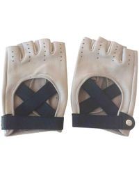 Chanel - Pre-owned Beige Leather Gloves - Lyst