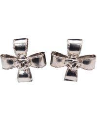 Chanel - Vintage Silver Metal Earrings - Lyst