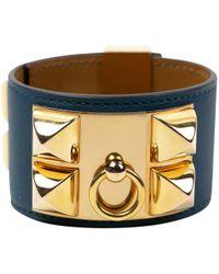 Hermès - Collier De Chien Blue Leather Bracelets - Lyst