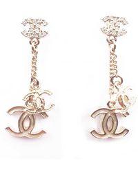 Chanel - Gold Metal Earrings - Lyst