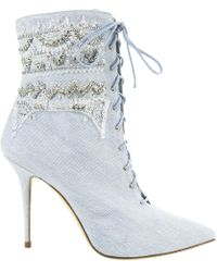 Manolo Blahnik - Cloth Lace Up Boots - Lyst