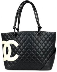 6a2251e31cb3 Chanel Pre-owned Cambon Leather Tote in Black - Lyst