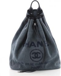 Chanel - Deauville Blue Cloth Handbag - Lyst