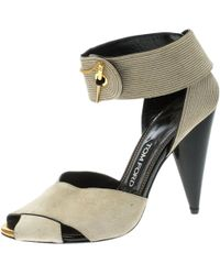 2162bf5fe9 Tom Ford Lace-up Metallic Python Sandals in Metallic - Lyst