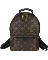 Louis Vuitton - Pre-owned Palm Springs Brown Cloth Backpacks - Lyst