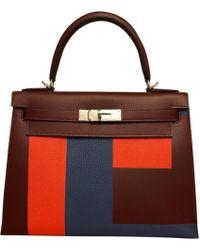 Hermès - Kelly 28 Burgundy Leather Handbag - Lyst