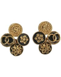 Chanel - Pre-owned Vintage Gold Metal Earrings - Lyst
