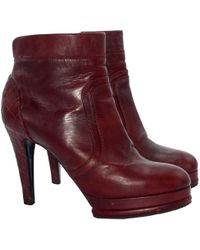 Chanel - Burgundy Leather Ankle Boots - Lyst