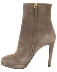 Sergio Rossi - Grey Suede Ankle Boots - Lyst