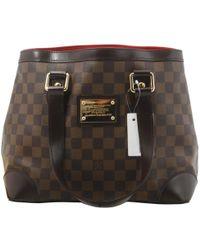 43934ee11329f8 Lyst - Louis Vuitton Hampstead Pm Tote Bag Damier Brown N51205 in Brown