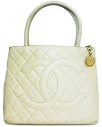 Chanel - Vintage Médaillon Beige Leather Handbag - Lyst