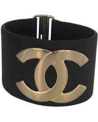 Chanel - Cc Navy Leather Bracelets - Lyst