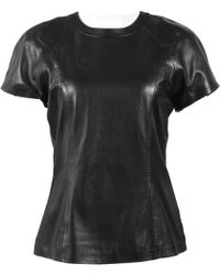 Alexander Wang - Black Leather Top - Lyst