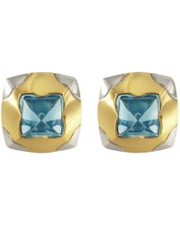 BVLGARI - Vintage Pyramide Multicolour Gold And Steel Earrings - Lyst