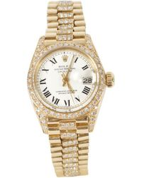 Rolex - Pre-owned Oyster Perpetual Yellow Gold Watch - Lyst