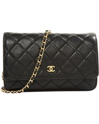 a0d414627fc6 Chanel Wallet On Chain Leather Mini Bag in Black - Lyst