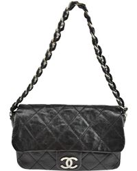 f7d47347f56b Black Quilted Lambskin Leather Chevron Double Flap Bag. $3,700. Rue La La ·  Chanel - Pre-owned Black Leather Handbags - Lyst