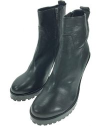 Ann Demeulemeester - Black Leather Ankle Boot - Lyst