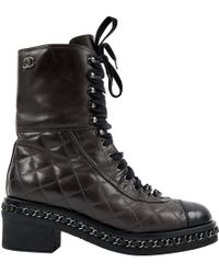 Chanel - Quilted Cap-toe Combat Boots Brown - Lyst