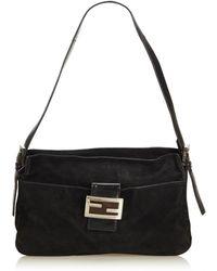 5664a24d1e73 Fendi - Vintage Baguette Black Suede Handbag - Lyst